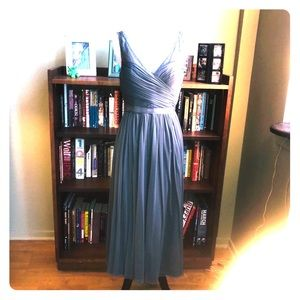 Gray bridesmaid/ maid of honor dress.